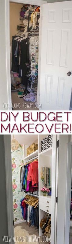 DIY Closet Organization Ideas for Messy Closets and Small Spaces. Organizing Hacks and Homemade Shelving And Storage Tips for Garage, Pantry, Bedroom., Clothes and Kitchen | Girly-Glam Closet Makeover REVEAL #homemadeclosetorganizertips #homemadeclosetorganizerorganizationideas