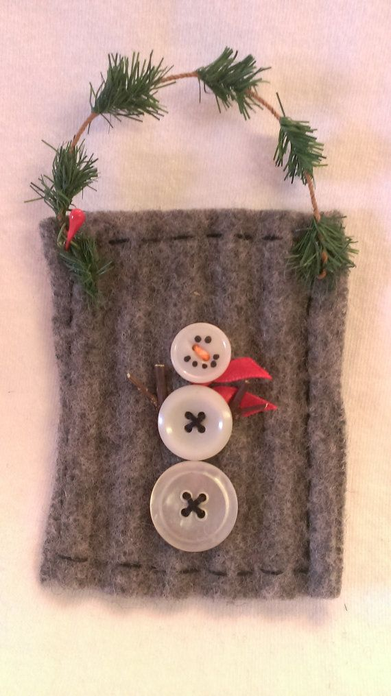 Button Snowman Ornament on recycled felted wool by JunkWeLove
