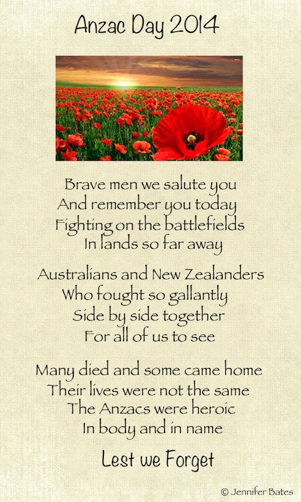 Remembering our soldiers on Anzac Day 2014 - Australia and New Zealand - Poem by Jennifer Bates.