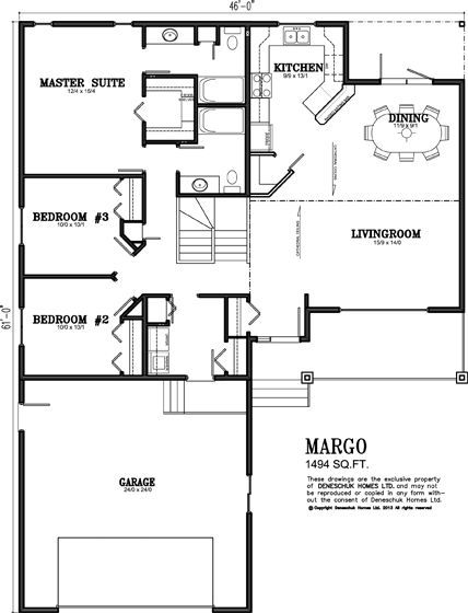 Deneschuk Homes 1400 - 1500 sq ft Home Plans RTM and