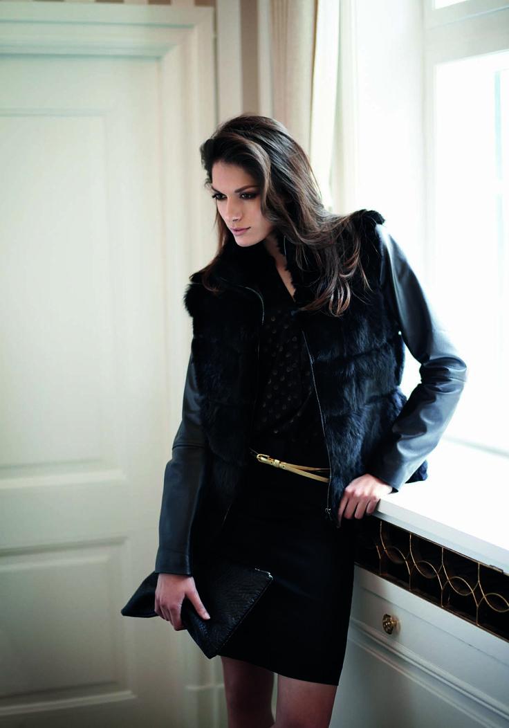 soyaconcept - jacket - fur - leather - shirt - skirt - belt - bag - clutch