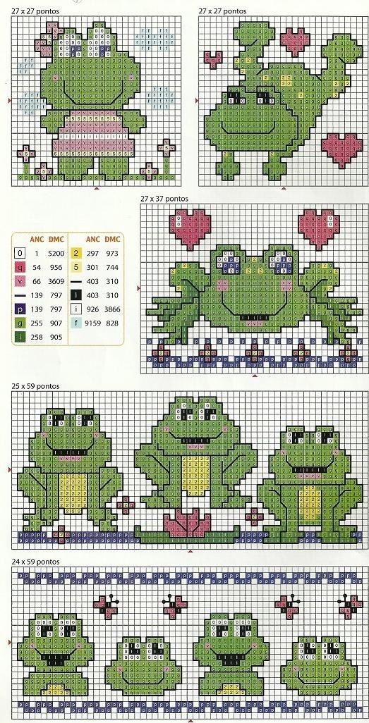 cross-stitch, frogs