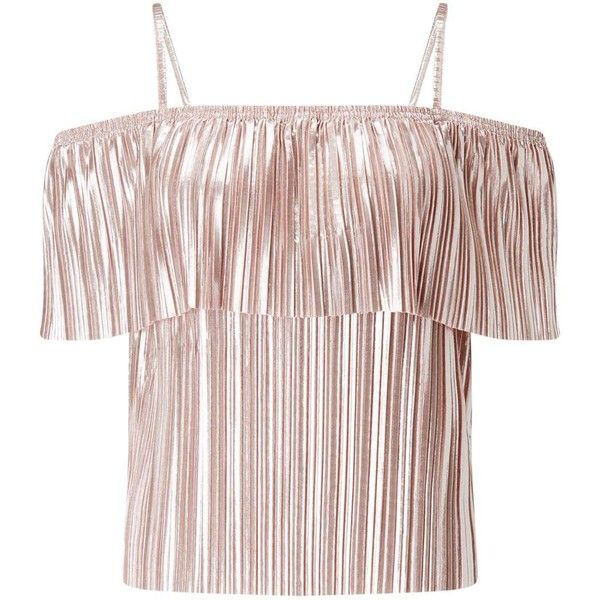 Miss Selfridge Pink Frill Plisse Bardot Top ($49) ❤ liked on Polyvore featuring tops, nude, flounce tops, flutter-sleeve top, off the shoulder frill top, off-the-shoulder ruffle tops and pink top