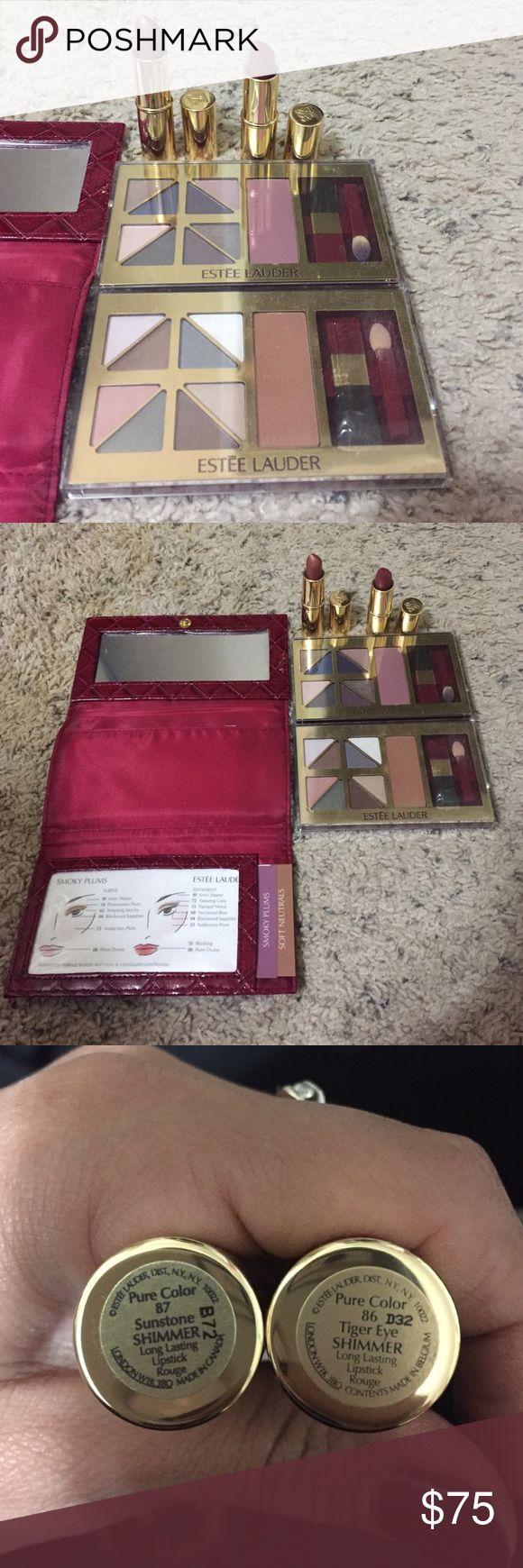 Estée Lauder makeup set. Estée Lauder makeup set. Lipsticks are new. Eyeshadow like new, used once. Includes eyeshadow carry case with mirror. Estee Lauder Makeup
