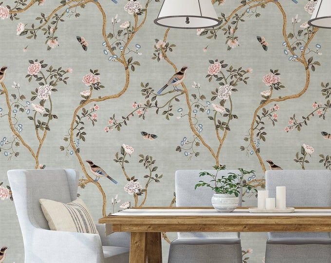 New Avignon Chinoiserie Peel N Stick Or Prepasted Wallpaper Removable Vinyl Free Non Toxic Prepasted Wallpaper Hand Painted Wallpaper Wallpaper