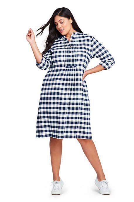 e0ed828b2f3 Women s Plus Size Long Sleeve Print Tuxedo Bib Shirt Dress