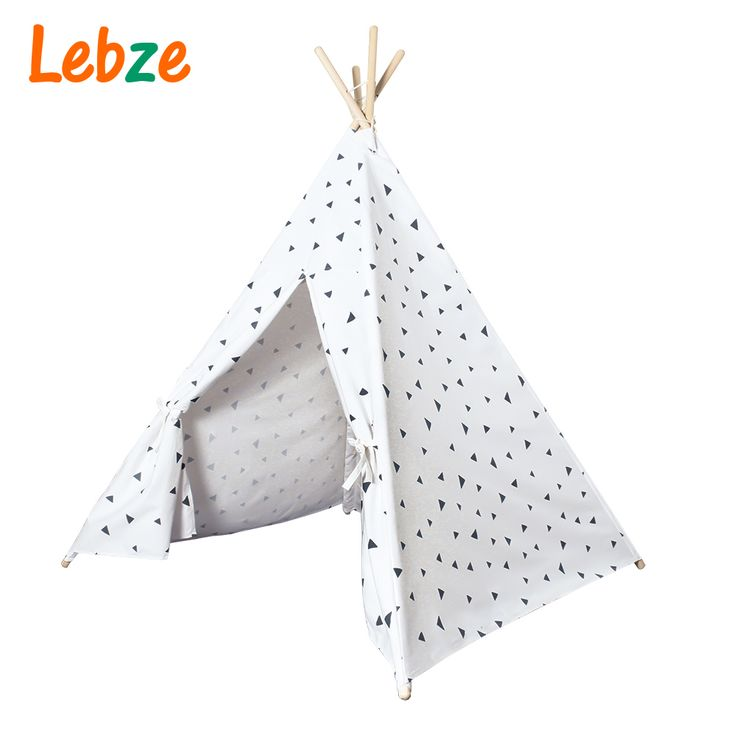 Empat Tiang Anak Tenda Hitam Segitiga Dicetak Anak-anak Bermain Tenda Teepee Tipi Katun Kanvas untuk Kamar Bayi Mainan Ins Hot