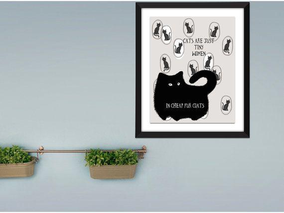 Digital print Cat humorous art Fat cats are by SansSouciPrintables