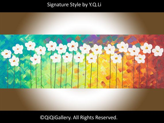"***TITLE: ""The Red Delight""  ***SIZE: 36"" x 12"" x 0.8""  ***THEME: Sunshine on flower field  ***MEDIUM: Professional grade acrylics or oils on"