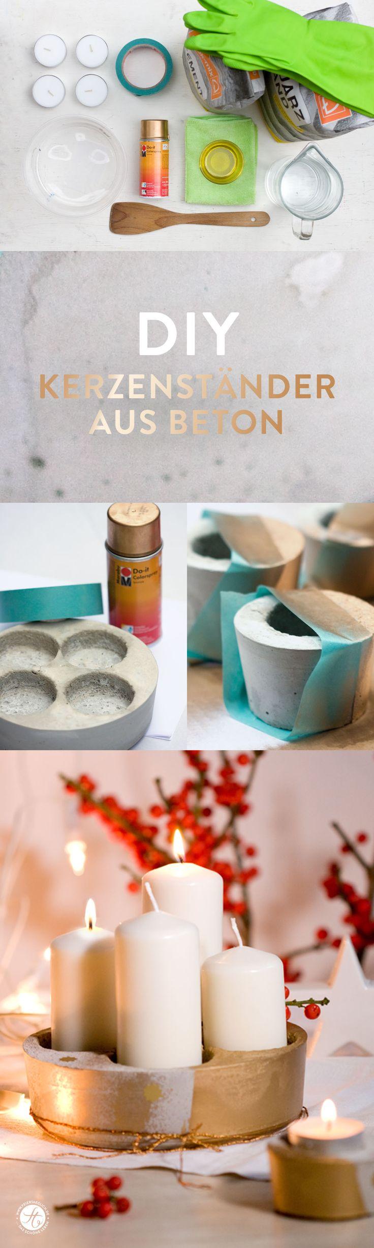 DIY Kerzenständer aus Beton mit Kupferlack