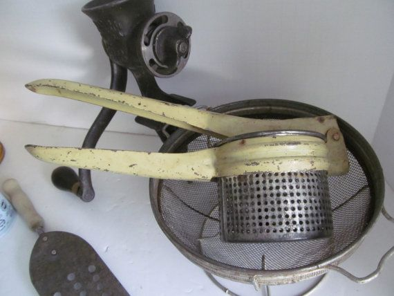 Farmhouse Primitive Kitchen Utensil Potato Ricer by ReVintageLannie