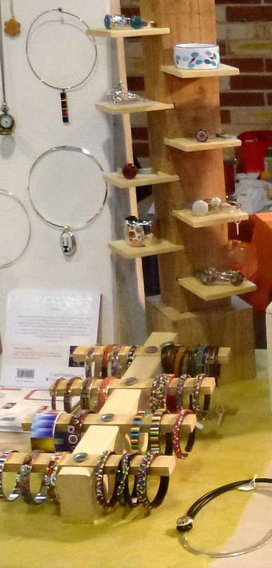 Stefcrea's booth. Varying heights, levels, pop of color here and there and the displays are very creative-especially the bracelet display.