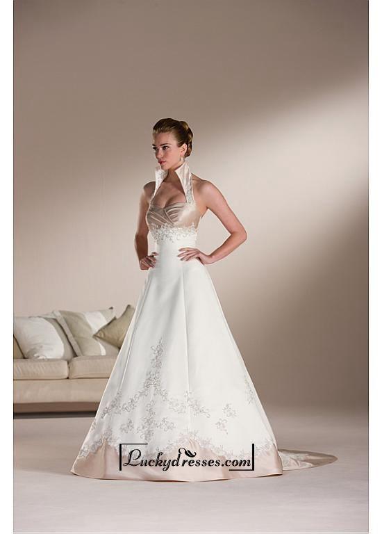 Beautiful Elegant Exquisite Satin Slight Sweetheart A-line Wedding Dress In Great Handwork
