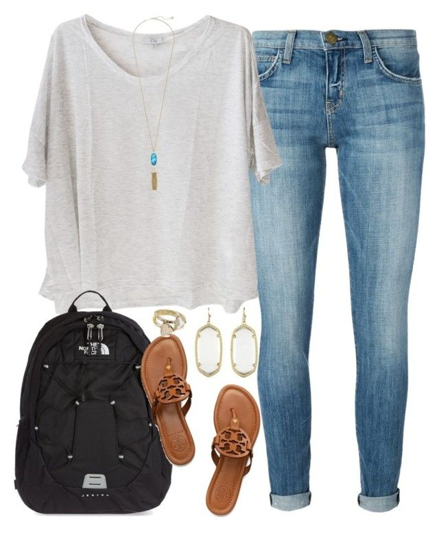 """""""texting my friend about my crush being in her house he was looking at her new puppies"""" by judebellar03 ❤ liked on Polyvore featuring Current/Elliott, Clu, The North Face, Kendra Scott and Tory Burch"""