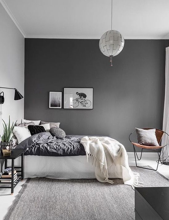 love the dark grey wall used in this bedroom. Interior Design Ideas. Home Design Ideas