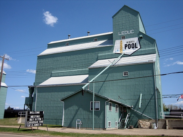 Side View, Leduc Grain Elevator, Leduc, Alberta, Canada The Leduc grain elevator is huge and one of the most beautiful ones I have seen in Alberta and Canada. It is very close to downtown Leduc. Many of these historic wooden grain elevators are disappearing from Western Canada's landscape.