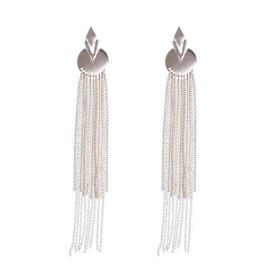 Geometric Rose Gold and Silver Chain Tassle Earrings