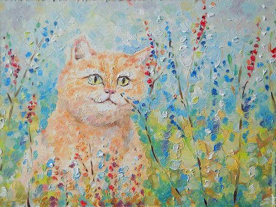 Original Impasto Pet Portrait Cat on Grass Oil by FrozenLife