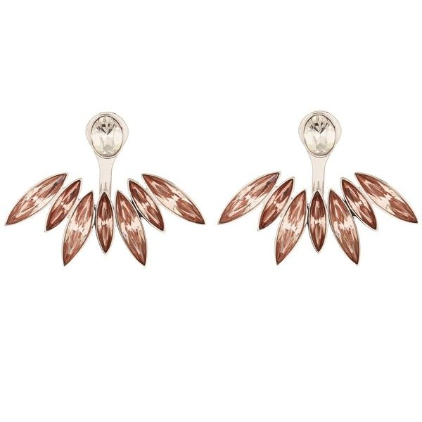 Ca&Lou Alexa lobe-cuff earrings (£205) ❤ liked on Polyvore featuring jewelry, earrings, silver multi, cuff jewelry, studded jewelry, swarovski crystal stud earrings, holiday earrings and swarovski crystal jewelry