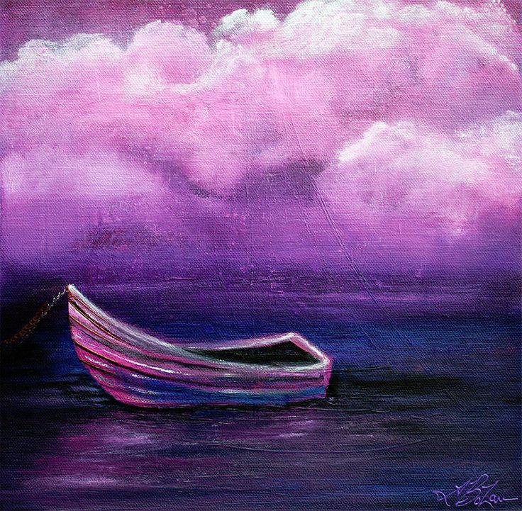Purple Boat Painting Ocean Art Seascape Clouds Landscape Original Barbosaart Surrealism Landscape Art Painting Sea Art Ocean Art