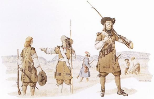 """Officer and soldiers of the régiment de Carignan-Salières, 1665-1668 - """"This reconstruction shows an officer and men of the régiment de Carignan-Salières during their service in New France (1665-1668). The common soldiers at left and right carry muskets. Hanging from their shoulder belts are the powder flasks known as 'the Twelve Apostles'. The officer at centre carries a half-pike and wears the white sash of a French officer around his waist. Reconstruction by Francis Back."""""""