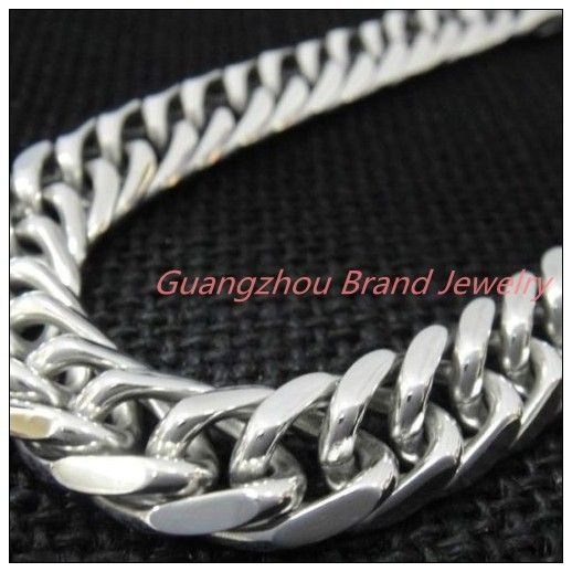 """8-40"""" 14mm High Quality New Fashion 316LStainless Steel Silver Curb Cuban Chain Tone Men's Necklace&Bracelet Bangle Not Fades"""