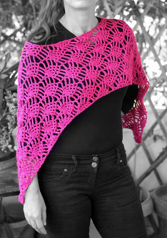 Spring   summer  autumn poncho deep pink by MmeDefargeYarnworks