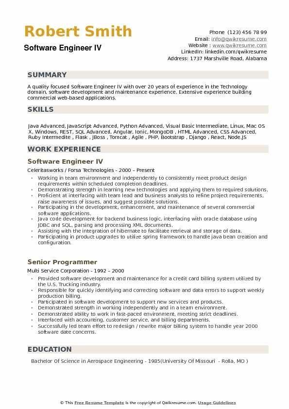 Software Engineer Resume Samples Qwikresume Engineering Resume Templates Teacher Resume Examples Engineering Resume