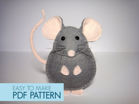 Easy to sew felt PDF pattern. DIY Pablo the Mouse, finger puppet or ornament