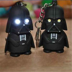 a black star wars darth vader estatuilla linterna led sonido torch llavero llavero