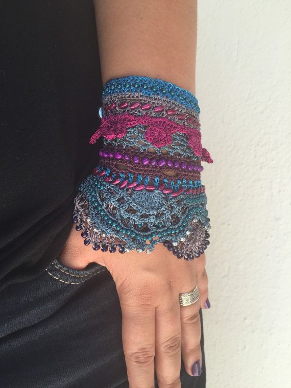 Beaded Crochet Cuff Bracelet, Purple Blue Gray Bracelet, Freeform Bracelet, Summer Fashion Jewelry, Handmade