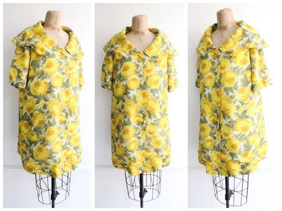 Vintage 1950's Yellow Rose Swing Coat duster coat swagger floral coat 50's fifties midcentury true vtg