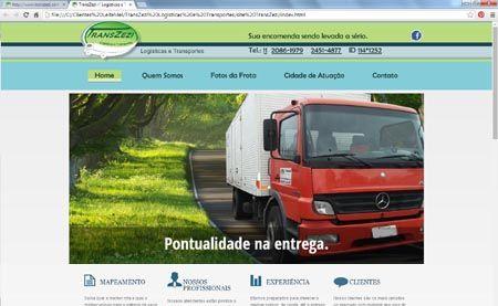 Site da TransZezi - Site e Logo - Especializados em entregas a longa e curta distância