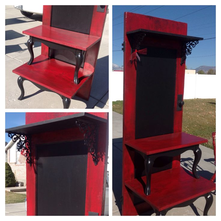 Red And Black Hall Tree. Made From An Old Door And A
