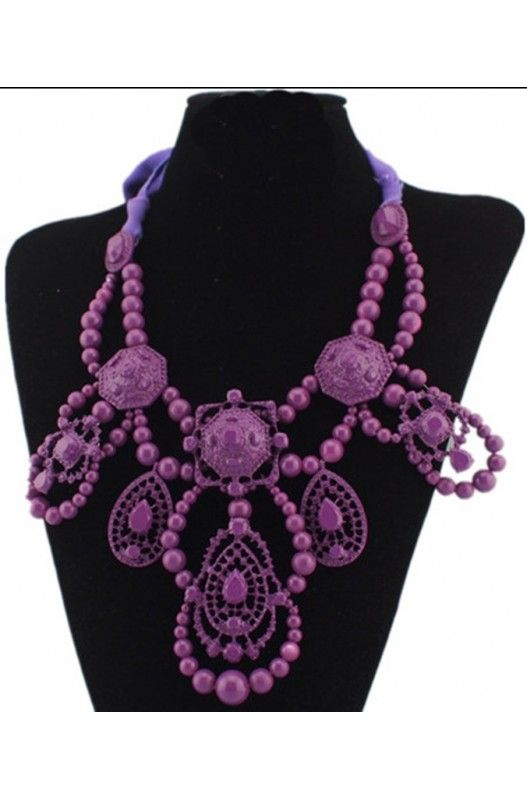 """""""Carrie"""" Statement Necklace- Statement Necklace! Purple! Ribbon Tie! Choker! Metal Casting! 31 inches Long! Only at A$15.00."""