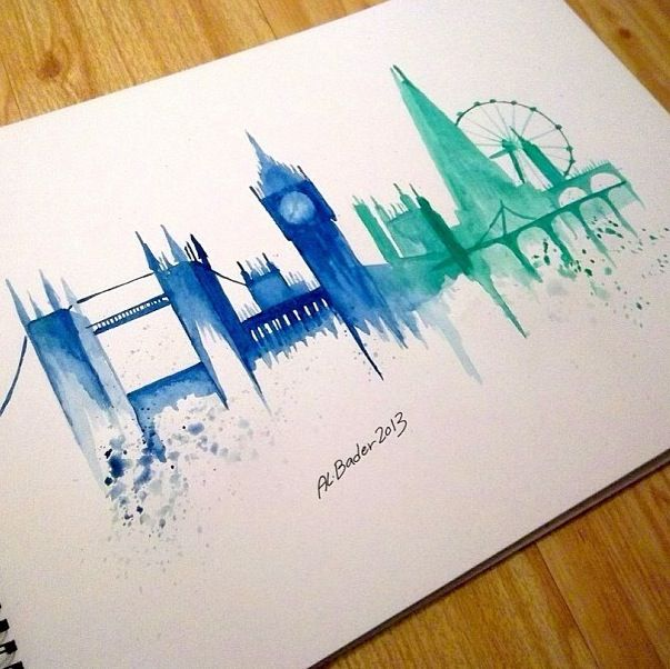 London watercolor painting