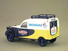 """Citroën 2CV AZU Propagaz (Eligor) 1:43 minicarweb.fr: In April 2013, Eligor decided to reproduce the 2CV AZU wearing the colours of Propagaz, a French company which used to sell liquefied gas. Logically, propane was offered by Propagaz, and butane by Butagaz. From September 1954, the 2CV AZU was equipped with a 425 cc engine. The letter """"U"""" states for utility vehicle. From 1955, Panhard manufactured the Citroën 2CV van versions."""