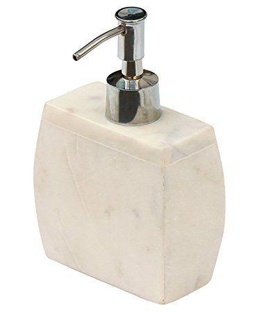 WINTER Angebot des Tages - SouvNear Weiß Marmor Seifenspender für Dusche - Pumpspender für Flüssigseife mit einfachem Aluminium Druckpumpengriff für Badezimmer & Küchenbecken - Badezubehör, 16.3 cm