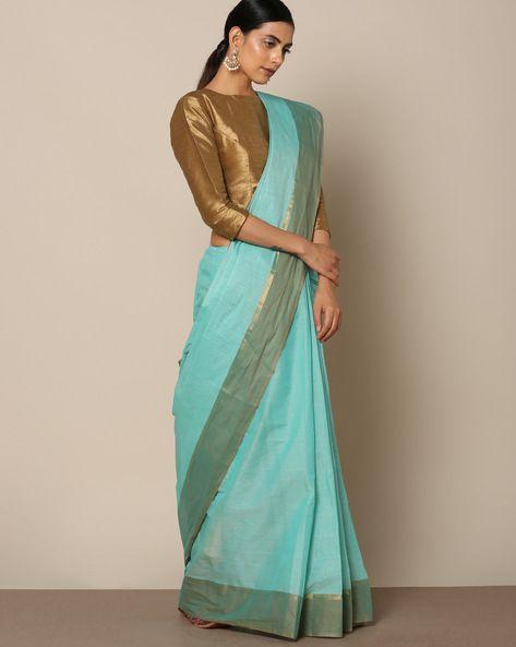4589575877d43a Cotton Saree with Striped Pallu | moda | Saree, Cotton saree, Blue saree