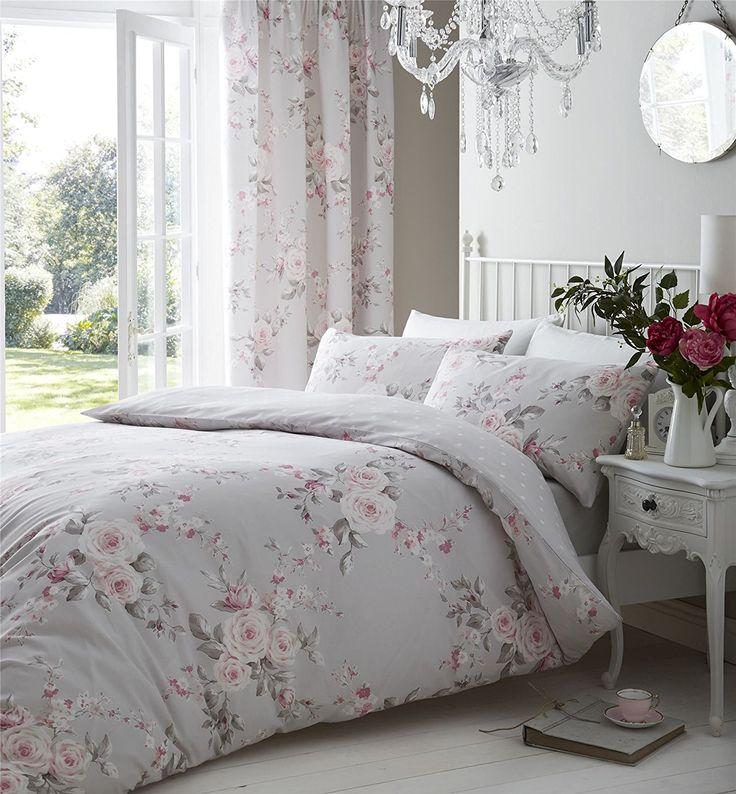 Grau Pink Rose Floral Bettwäsche Baumwolle-Mischgewebe reversibel Tröster Single Cover: Amazon.de: Garten