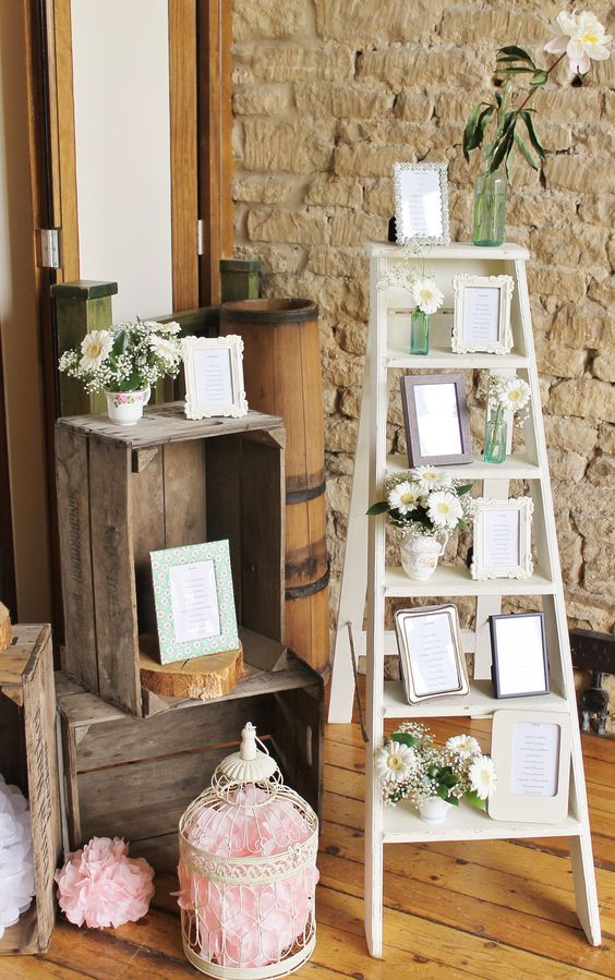 Vintage step ladder table plan / http://www.deerpearlflowers.com/country-wooden-crates-wedding-ideas/