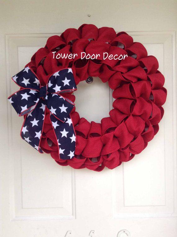 Patriotic 4th of July Burlap Red Faux Burlap Wreath by TowerDoorDecor, $35.00