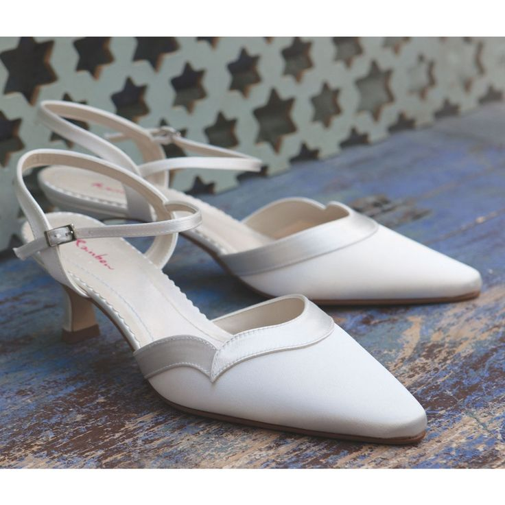 Annie By Rainbow Club Ivory Or White Satin Dyeable Kitten Heel Wedding Occasion Shoes