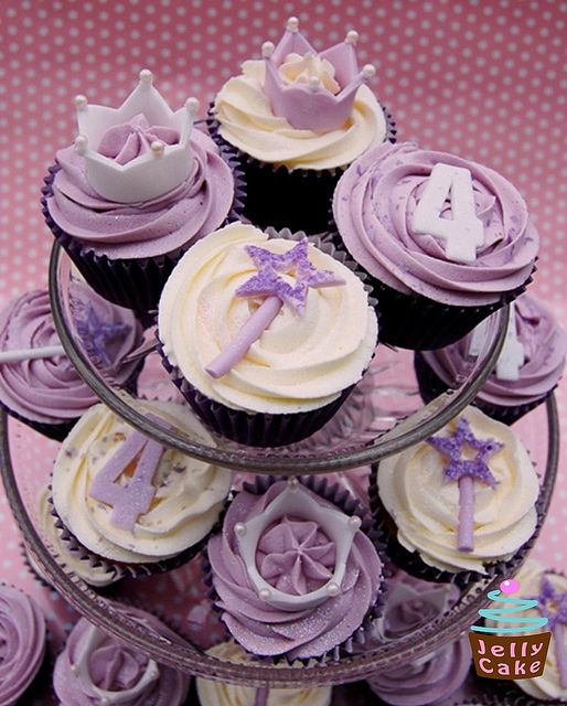 Purple princess cupcakes - love the crowns.