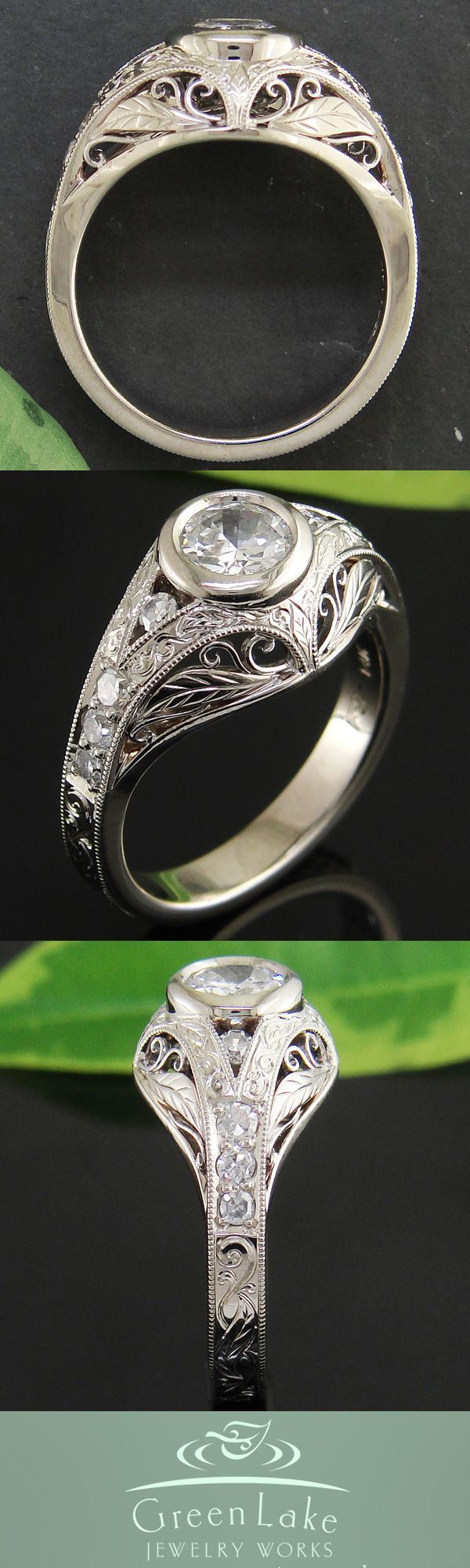 White Gold And Diamond Engagement Ring With Old World Filigree