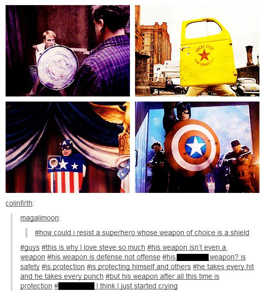 """Captain America's """"Weapon"""" of Choice."""