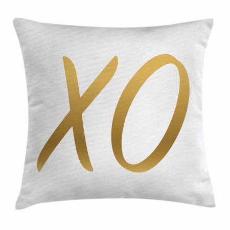 Xo Decor Throw Pillow Cushion Cover, Love Affection Happy Joyful Good Friendship Romance Sign Letters Artistic Design, Decorative Square Accent Pillow Case, 20 X 20 Inches, Gold White, by Ambesonne