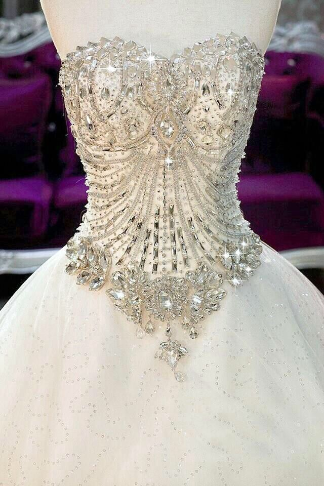 Wedding Dress Lace Corset Top : Jewel encrusted wedding corset ideas and