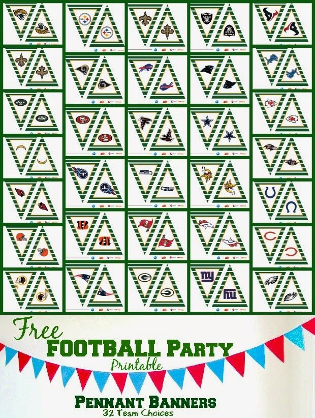 Free Printable Football Party Pennant Banners - 32 Team Choices ...