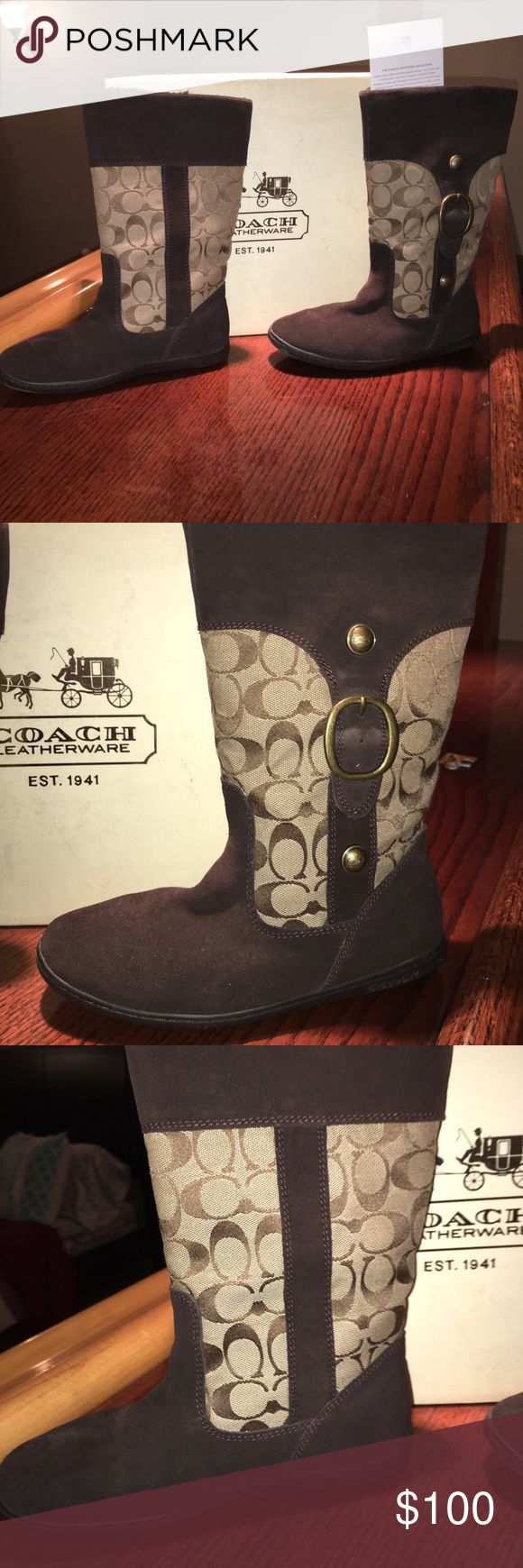 New Coach boots  Leatherware. Size 7 This wonderful   Coach signature boots are sit in my closet never used Coach Shoes Ankle Boots & Booties